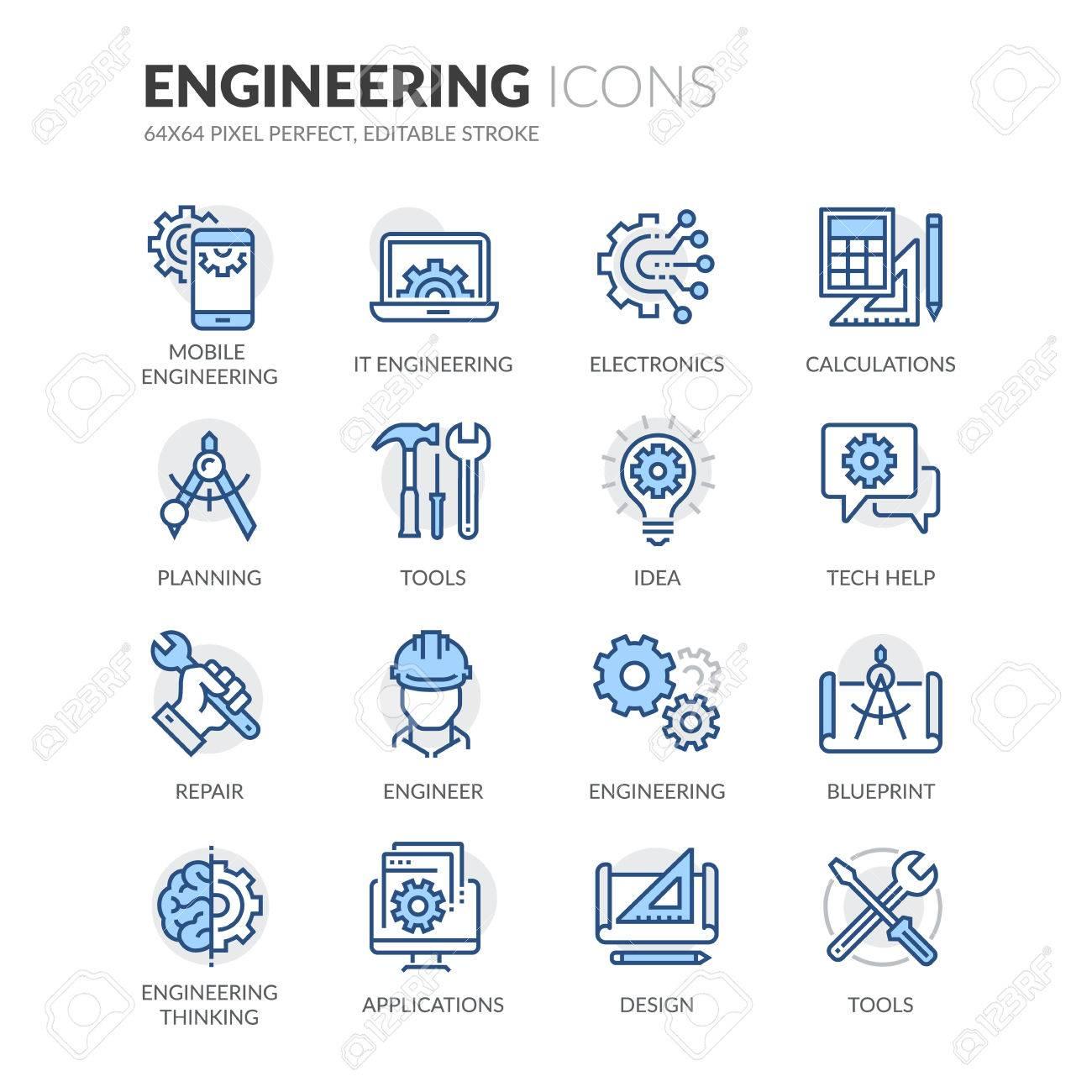Einfache Set Of Engineering Verwandte Farbe Vector Linie Icons ...