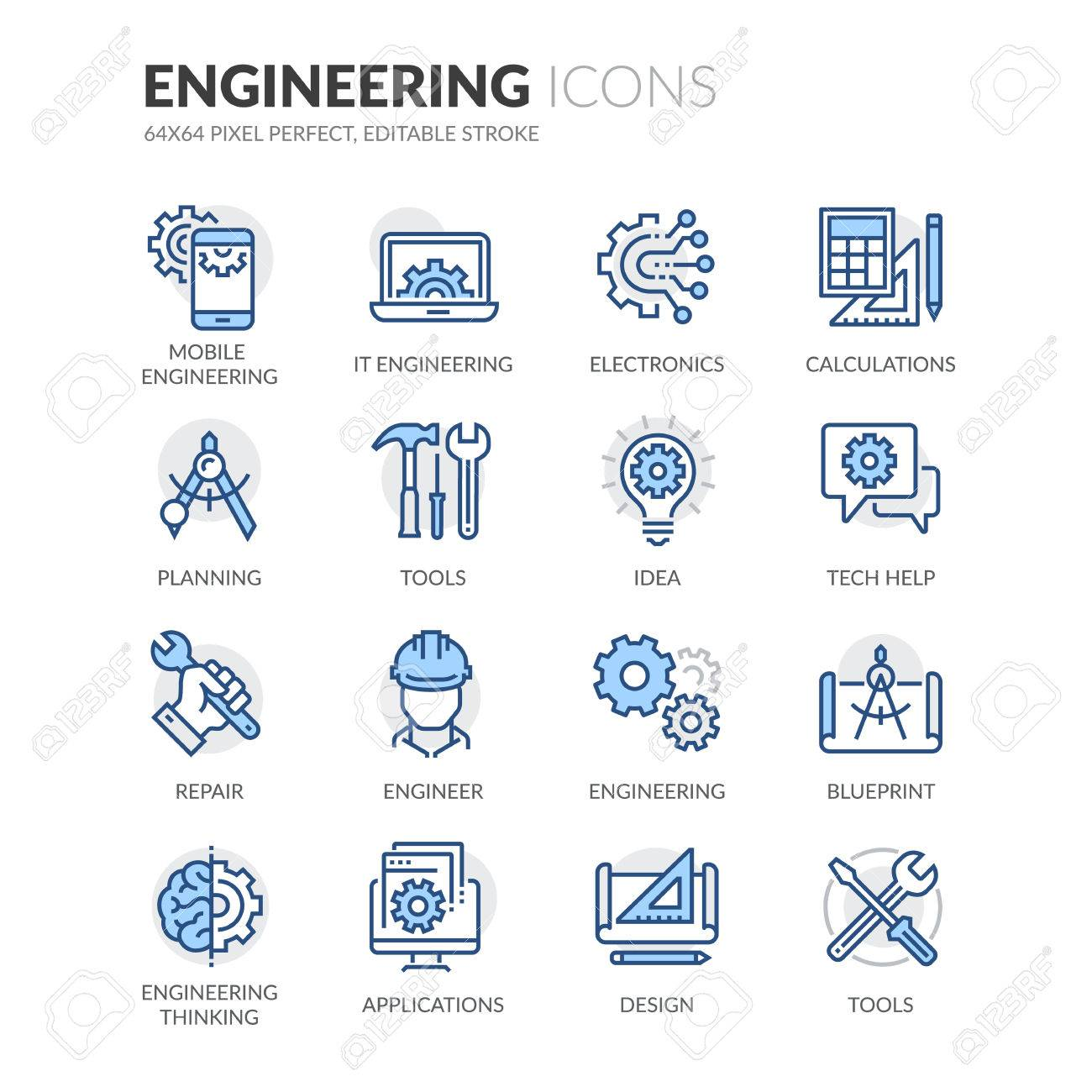 Simple Set of Engineering Related Color Vector Line Icons. Contains such Icons as Calculations, Blueprint, Engineer, App Design and more. Editable Stroke. 64x64 Pixel Perfect. - 61777313