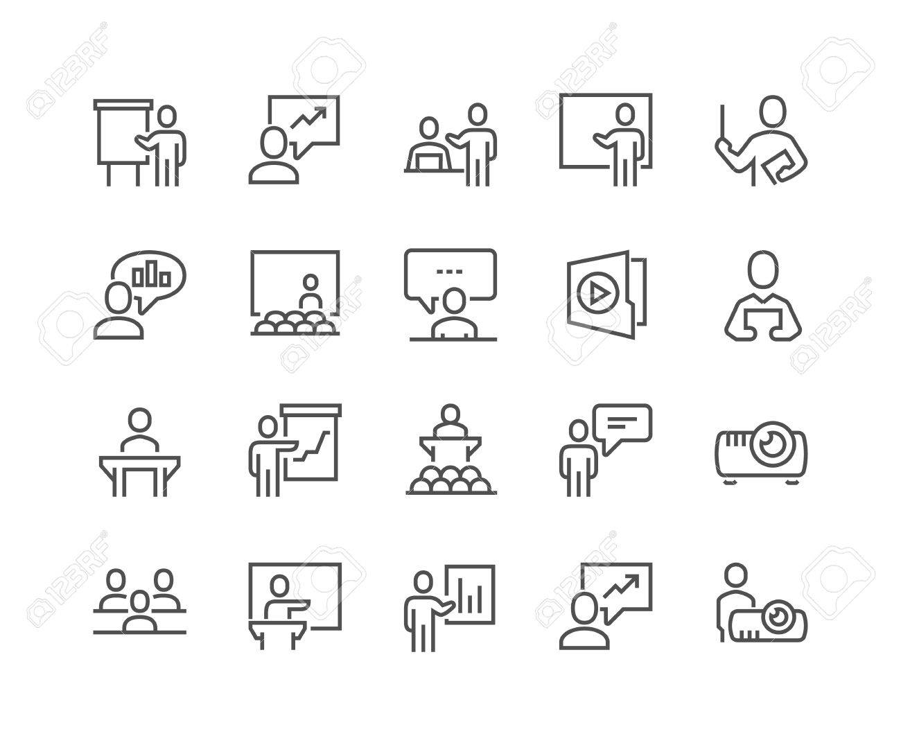 Simple Set of Business Presentation Related Vector Line Icons. Contains such Icons as Presenter, Teacher, Audience and more. Editable Stroke. 48x48 Pixel Perfect. - 68481697