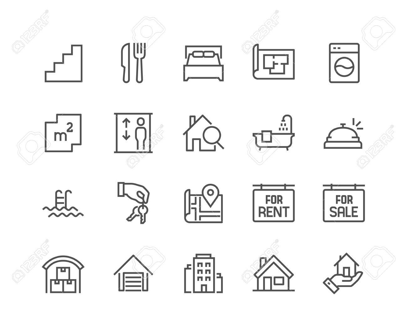 Simple Set of Real Estate Related Vector Line Icons. Contains such Icons as Map, Plan, Bedrooms, Area, Bell and more. Editable Stroke. 48x48 Pixel Perfect. - 68605649