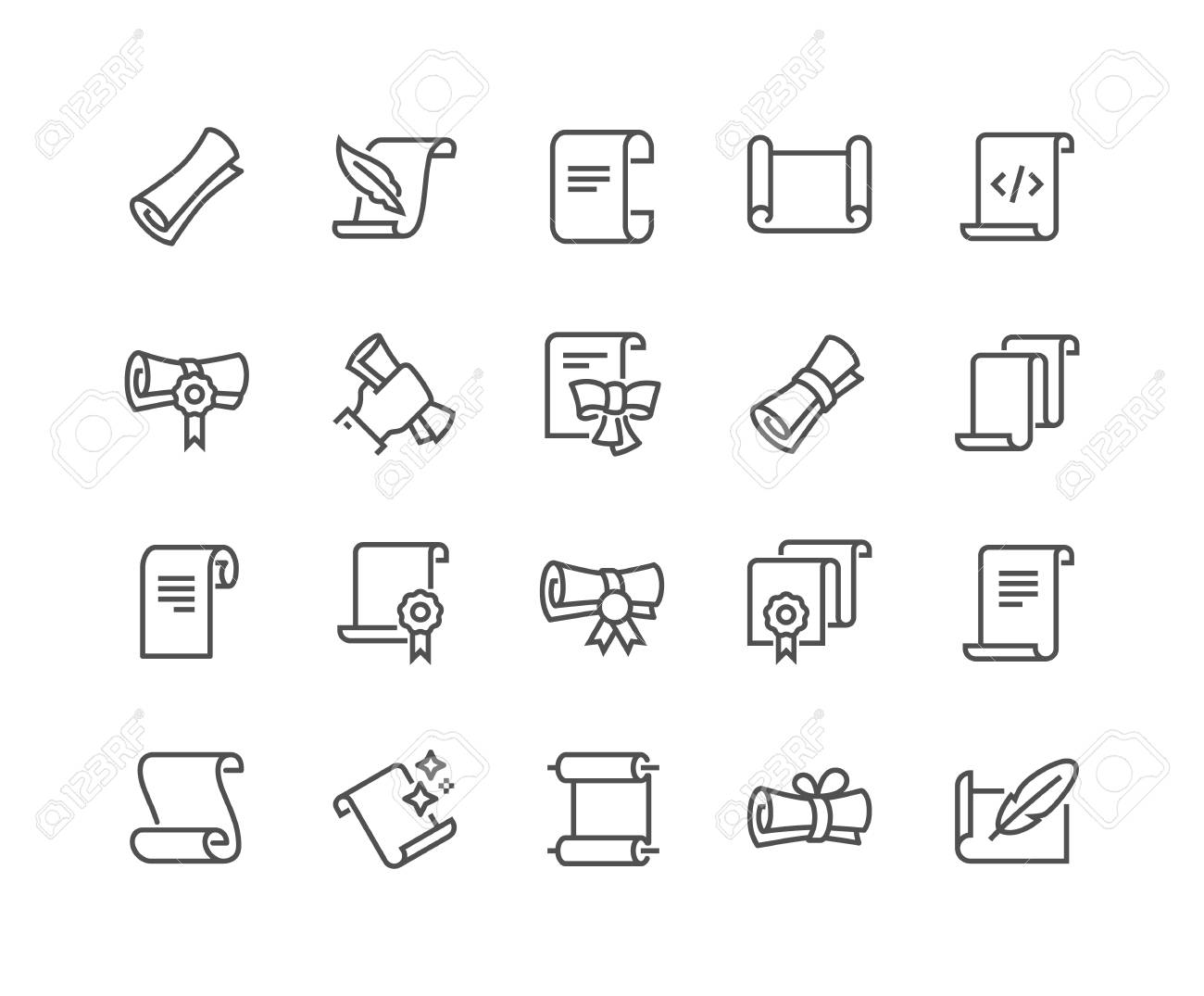 Line Scrolls and Papers Icons - 101091707