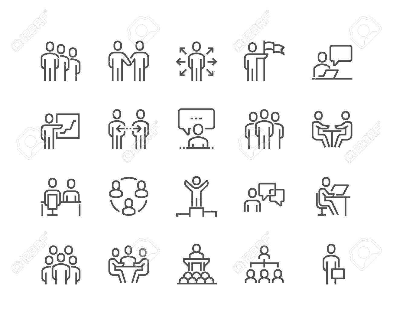 Line Business People Icons - 101988443