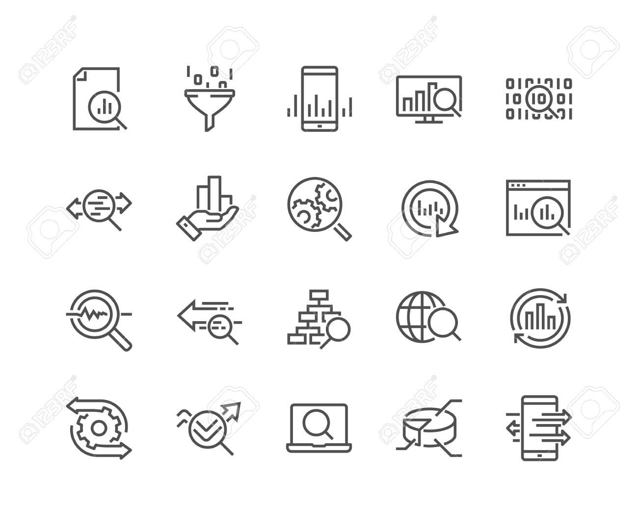 Line Data Analysis Icons - 102480098