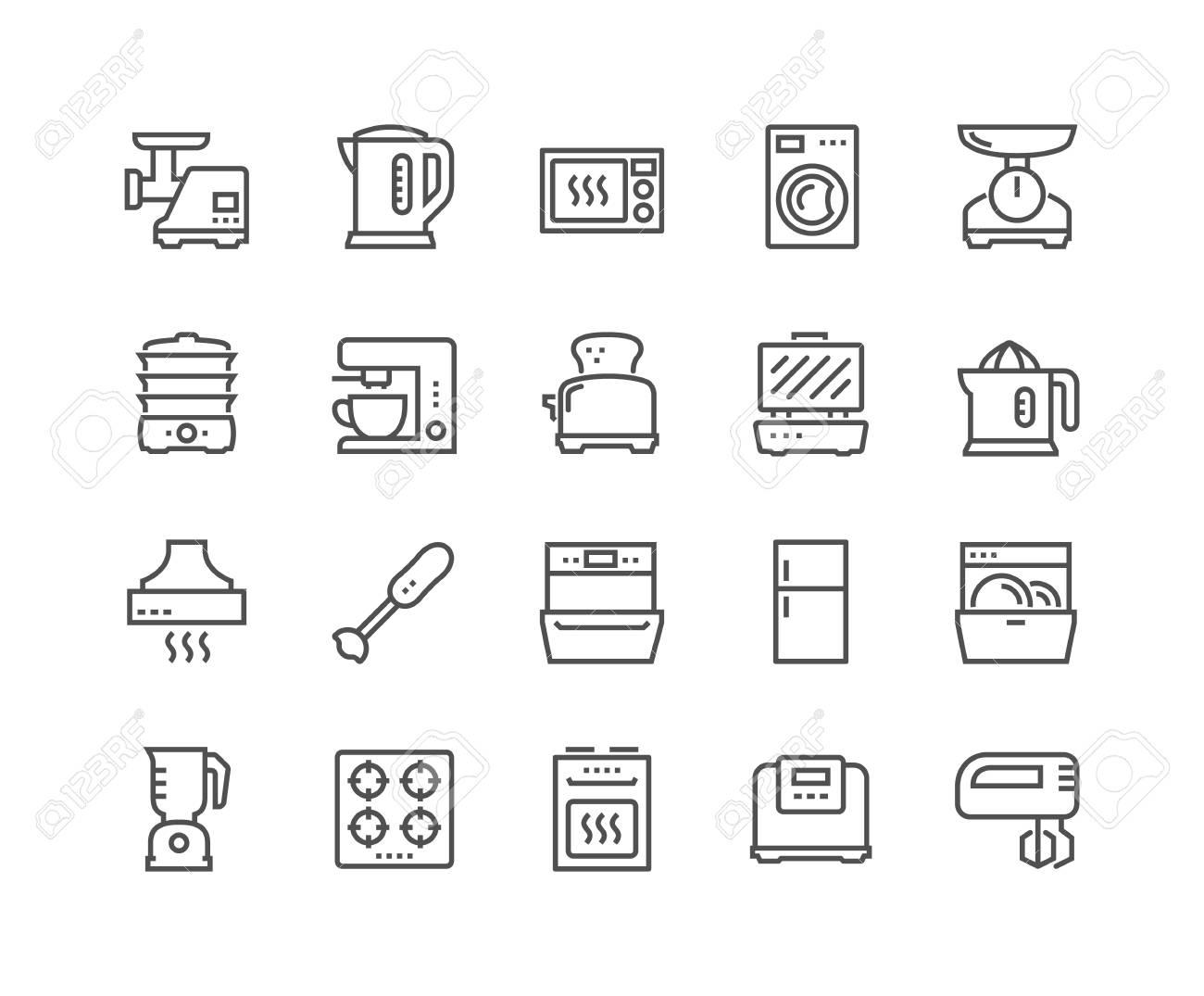 Line Kitchen Appliances Icons - 102747495