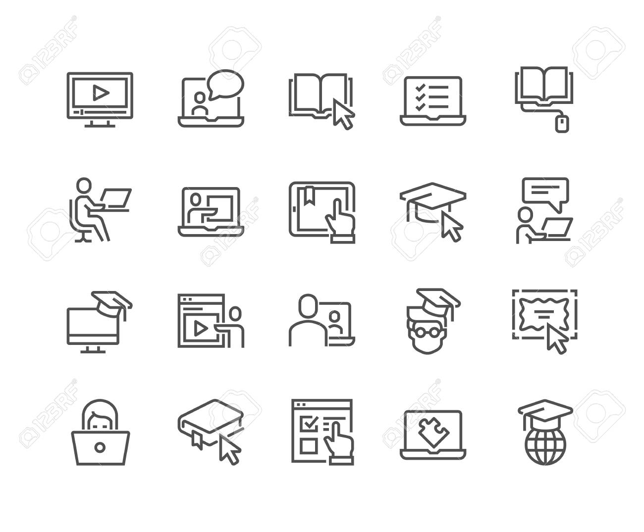 Line Online Education Icons - 105058663