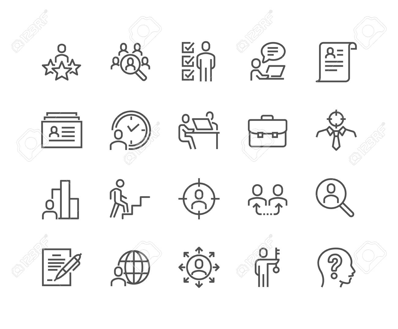 Line Head Hunting Icons - 105058669