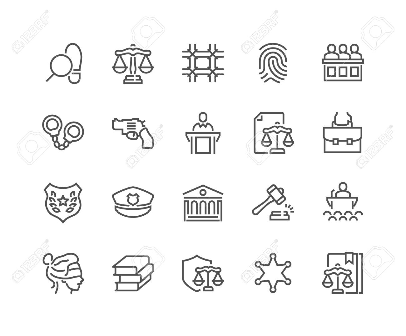 Line Law and Justice Icons - 105058670