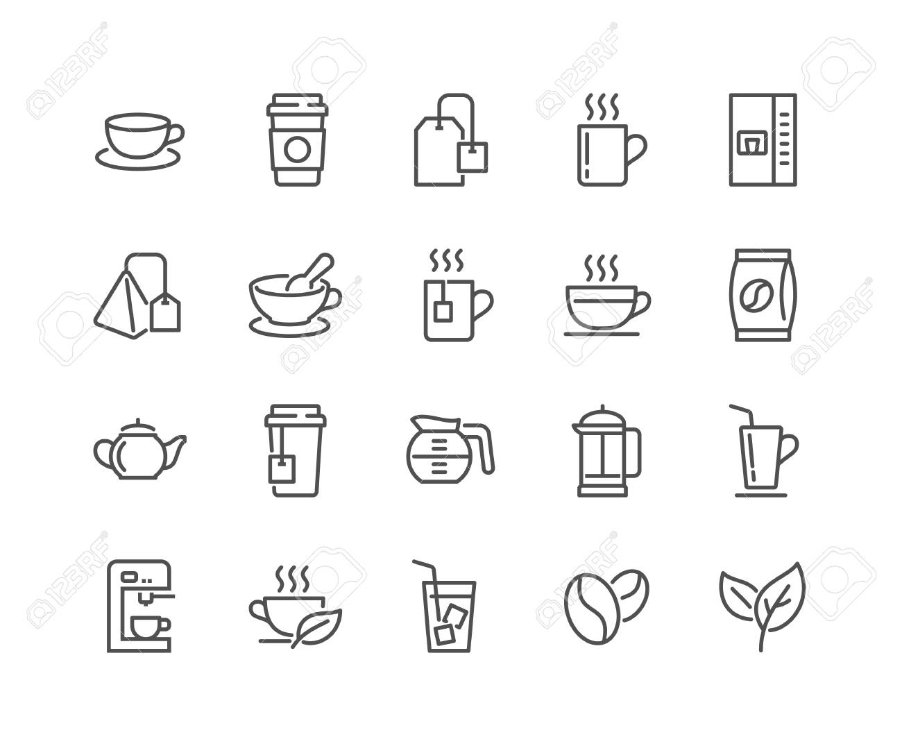 Line Coffee and Tea Icons - 105056600
