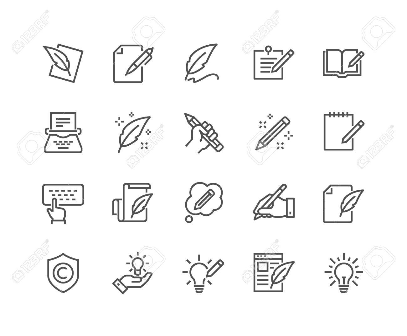 Line Copywriting Icons - 105056602