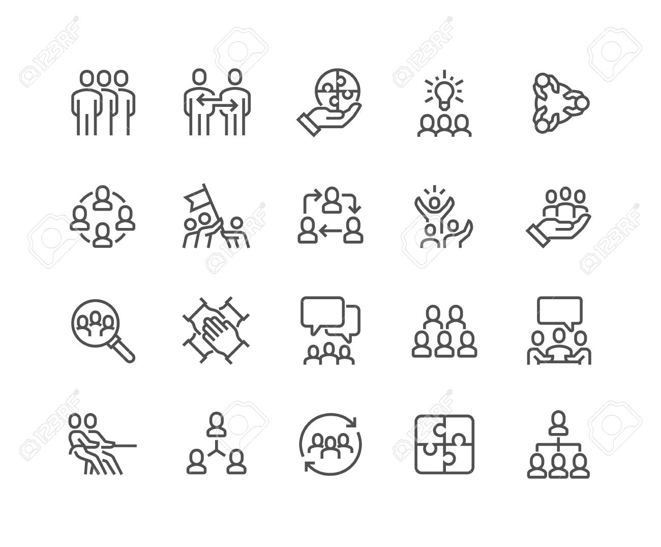 Line Team Work Icons - 104230071