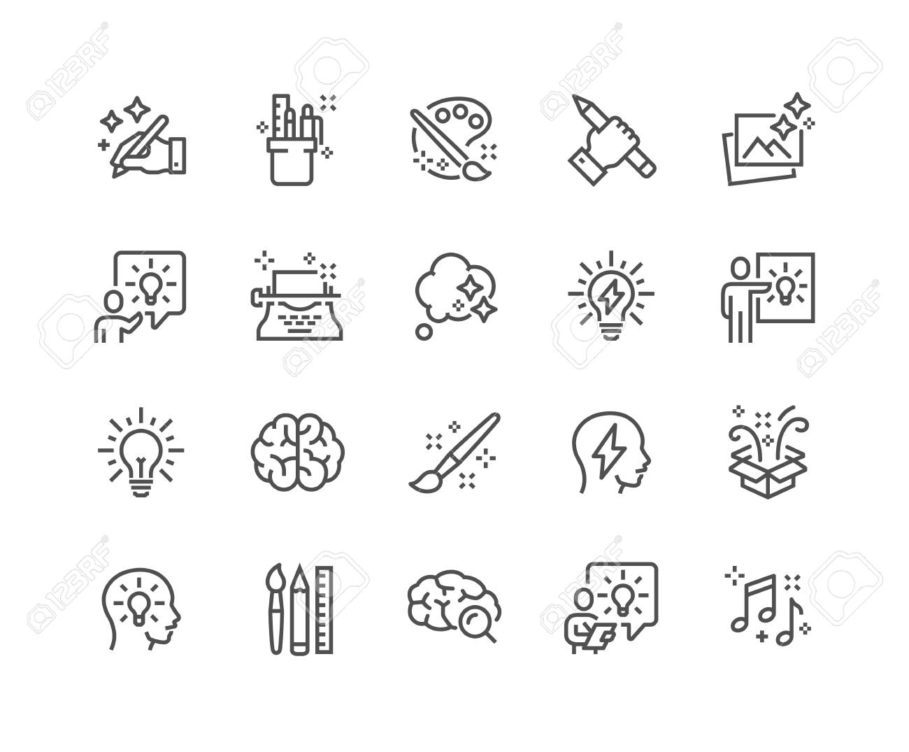Simple Set of Creativity Related Vector Line Icons. Contains such Icons as Inspiration, Idea, Brain and more. Editable Stroke. 48x48 Pixel Perfect. - 126090363