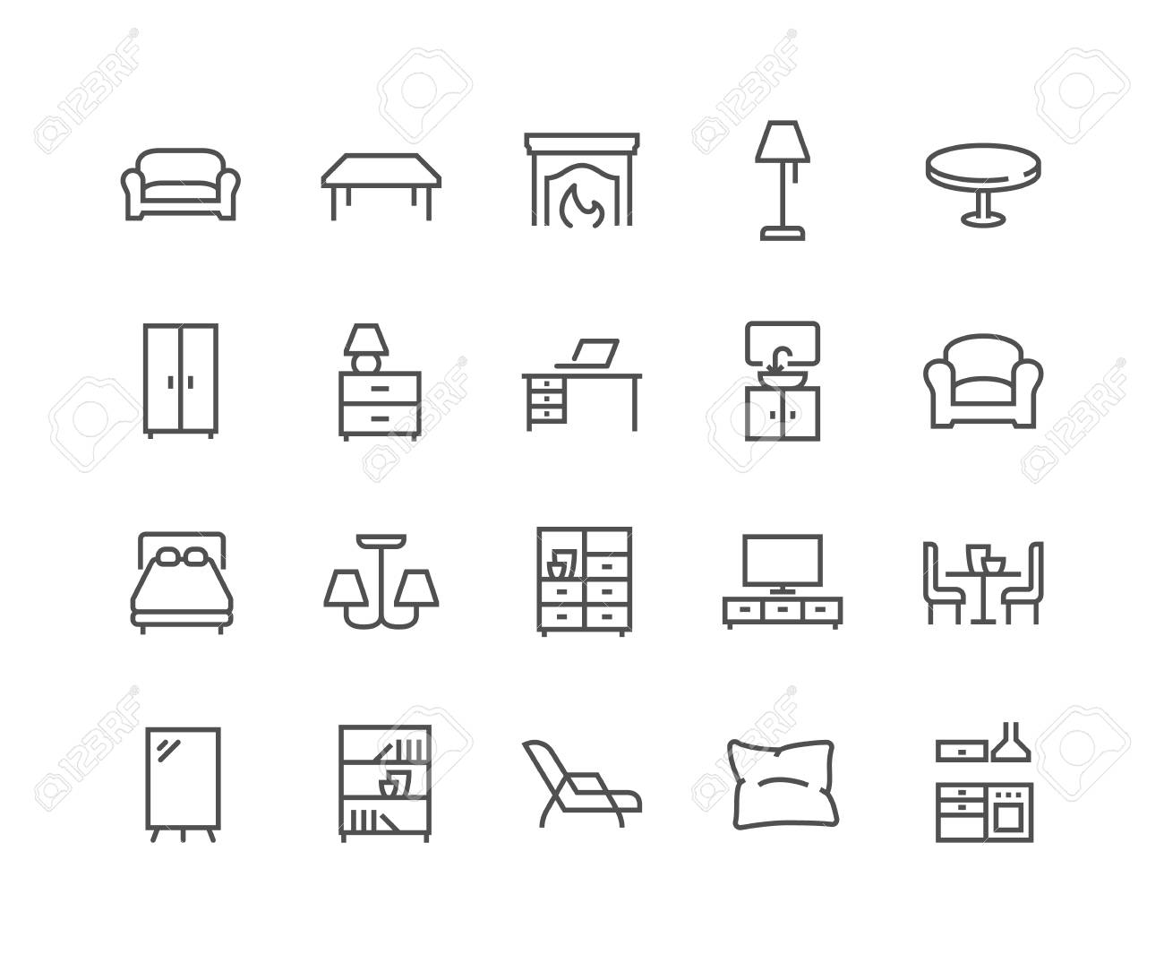 Simple Set of Furniture Related Vector Line Icons. Contains such Icons as Sofa, Table, Floor Light and more. Editable Stroke. 48x48 Pixel Perfect. - 126090366