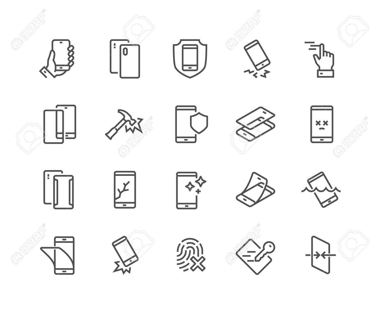 Simple Set of Smartphone Protection Related Vector Line Icons. Contains such Icons as Screen Protector, Delicate Touch, Tempered Glass and more. Editable Stroke. 48x48 Pixel Perfect. - 126090372