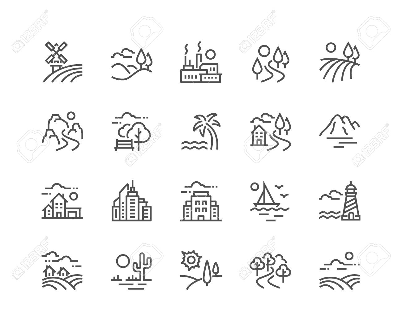 Simple Set of Landscape Related Vector Line Icons. Contains such Icons as Farm, Megapolis, Desert and more. Editable Stroke. 48x48 Pixel Perfect. - 126090373
