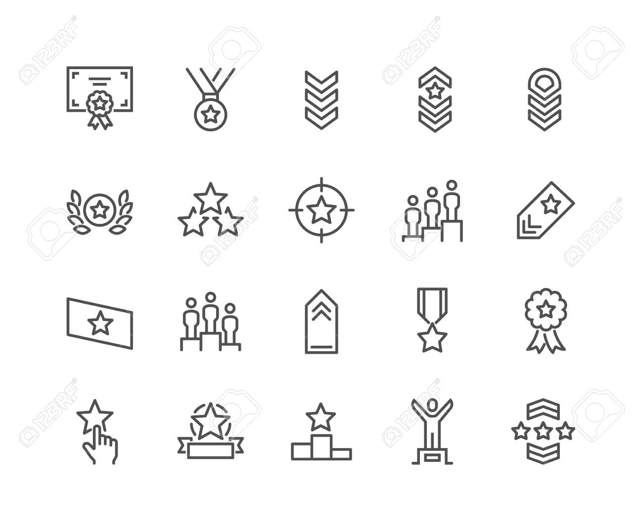 Simple Set of Ranking Related Vector Line Icons. Contains such Icons as Star Rating, First Place, Shoulder Strap and more. Editable Stroke. 48x48 Pixel Perfect. - 126090380