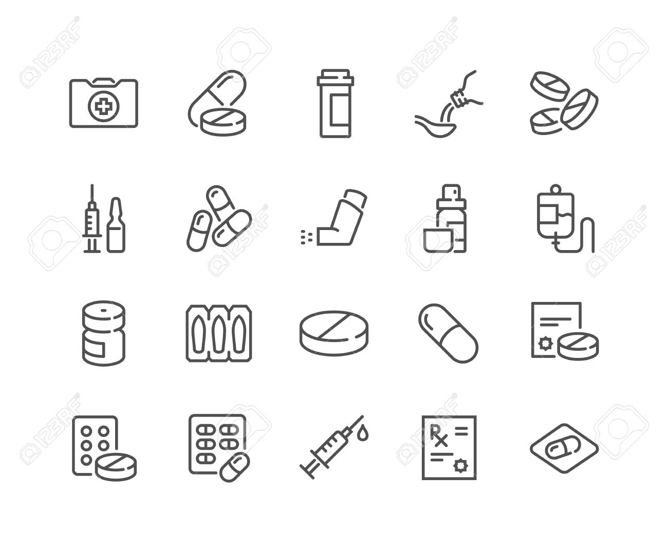 Line Medical Drugs Icons - 118849373