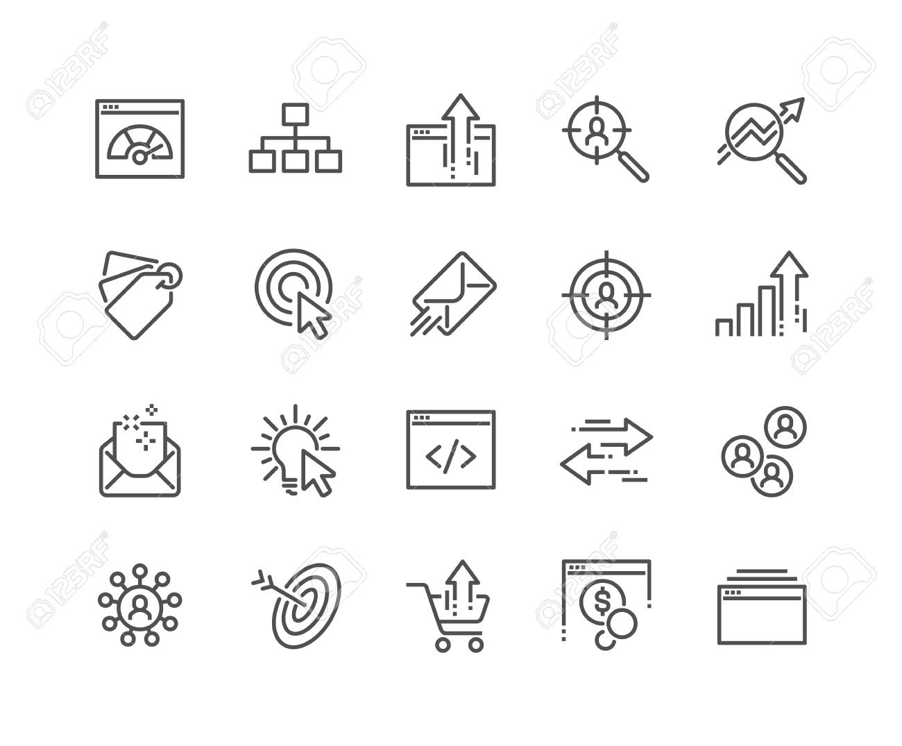 Simple Set of SEO Related Vector Line Icons. Contains such Icons as Increase Sales, Traffic Management, Social Networks and more. Editable Stroke. 48x48 Pixel Perfect. - 126090383