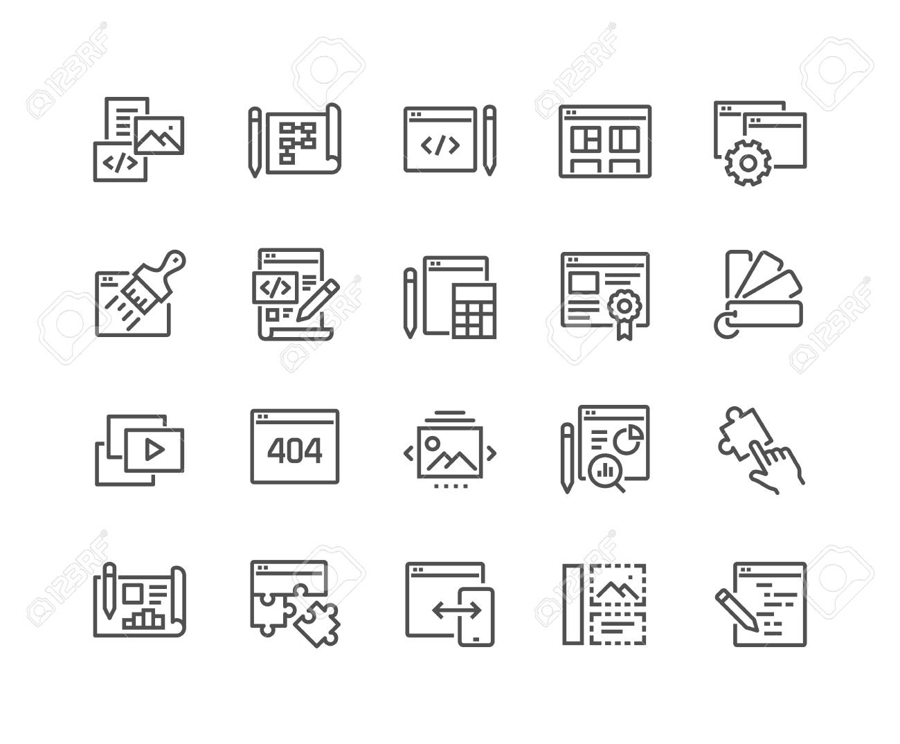 Simple Set of Web Development Related Vector Line Icons. Contains such Icons as Content, Image Gallery, Layout Settings and more. Editable Stroke. 48x48 Pixel Perfect. - 126090388