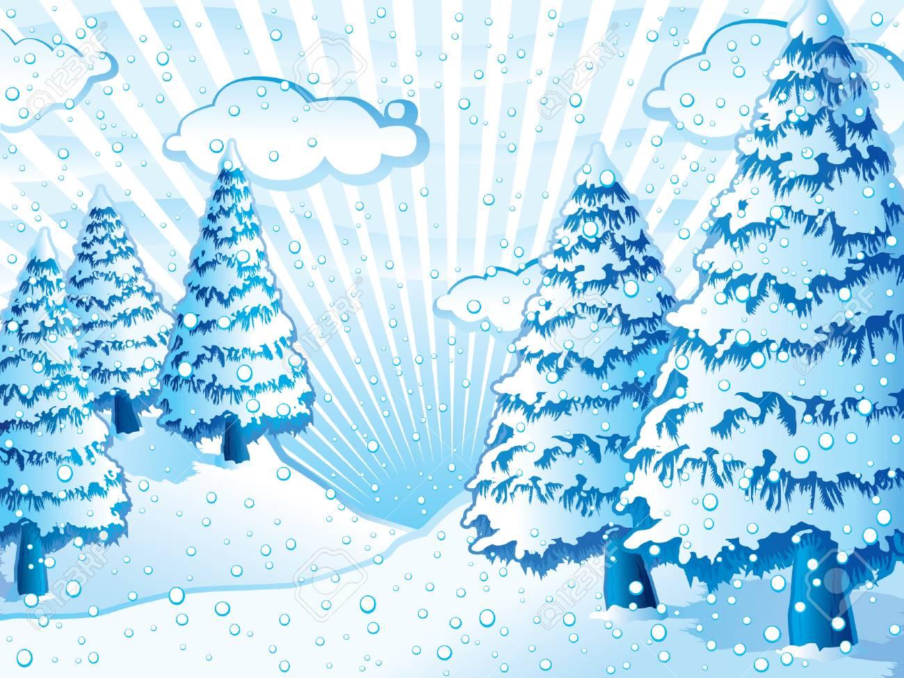 Harmonic blue winter scene Stock Vector - 3492199