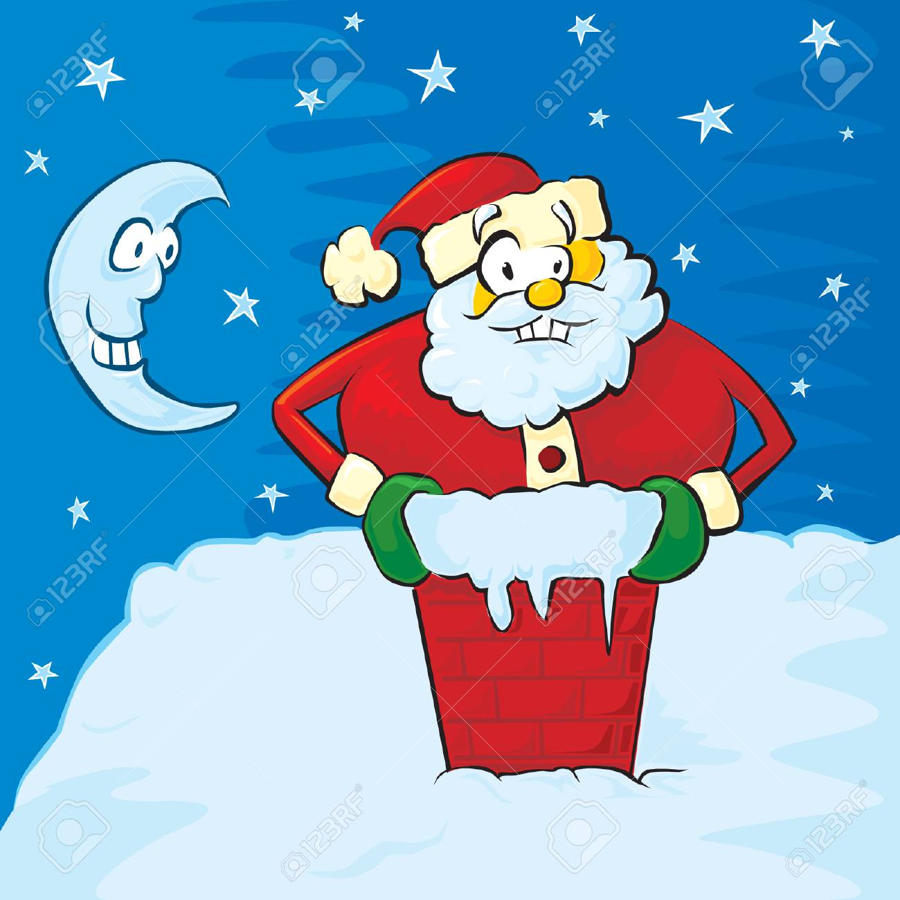 Santa on the roof Stock Vector - 3498724