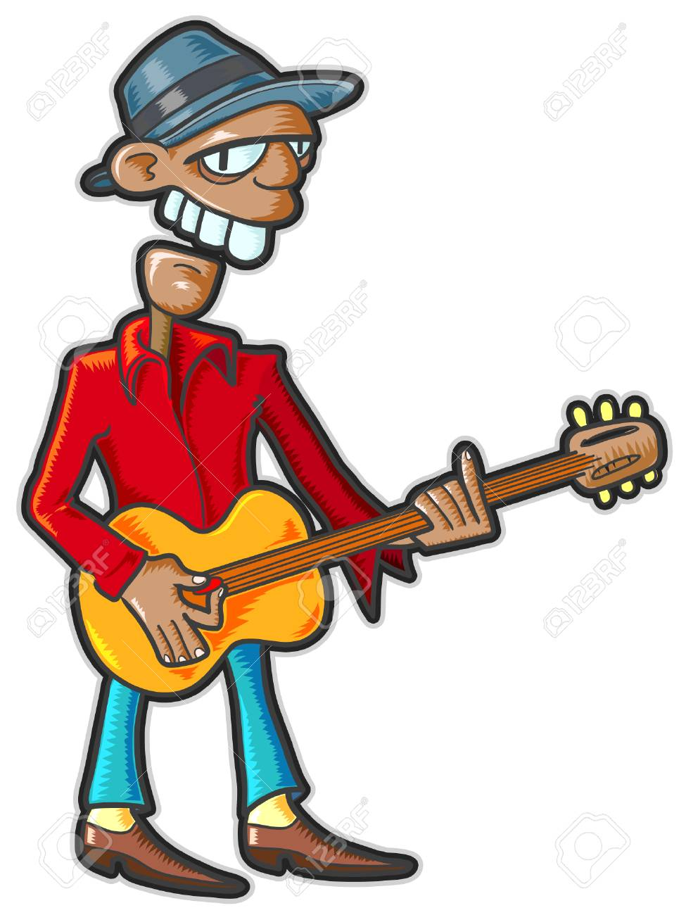 Guitarist. Vector illustration without gradients and transparencies Stock Vector - 4339293