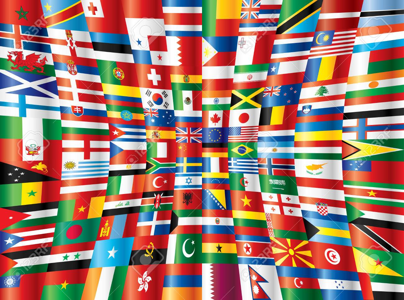 International glossy flags. 130 flags. Stock Vector - 8146505