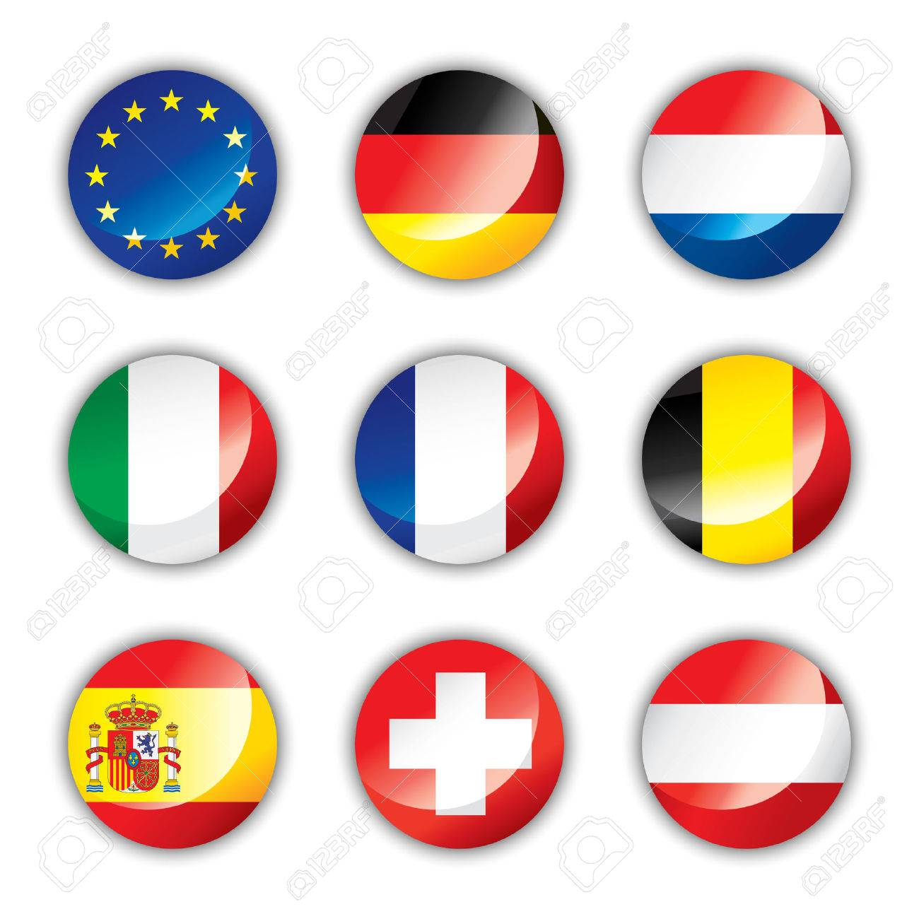 Glossy button flags - Europe one Stock Vector - 8146512