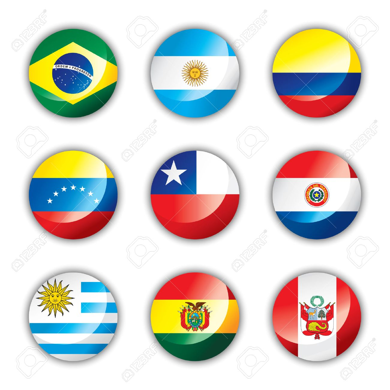 Glossy button flags - South America Stock Vector - 8146513