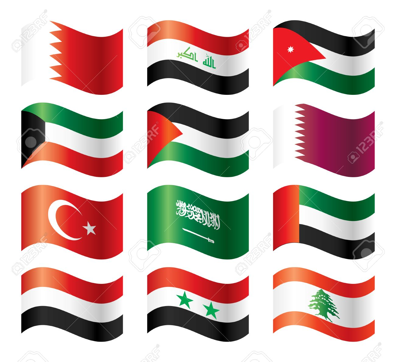 Wavy flags set - Middle East Asia Stock Vector - 8146521