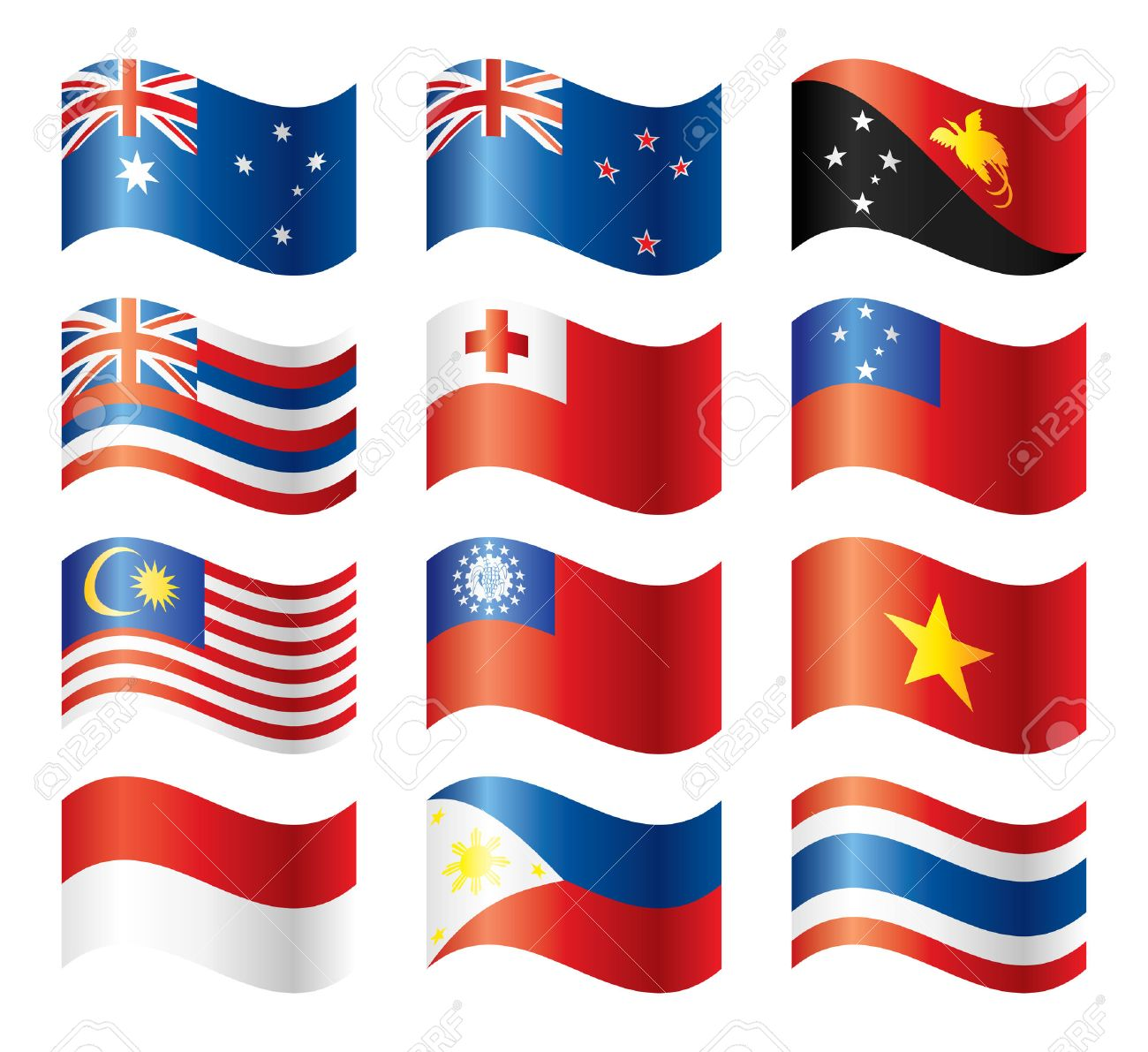 Wavy flags set - South-Eastern Asia & Oceania Stock Vector - 8146523