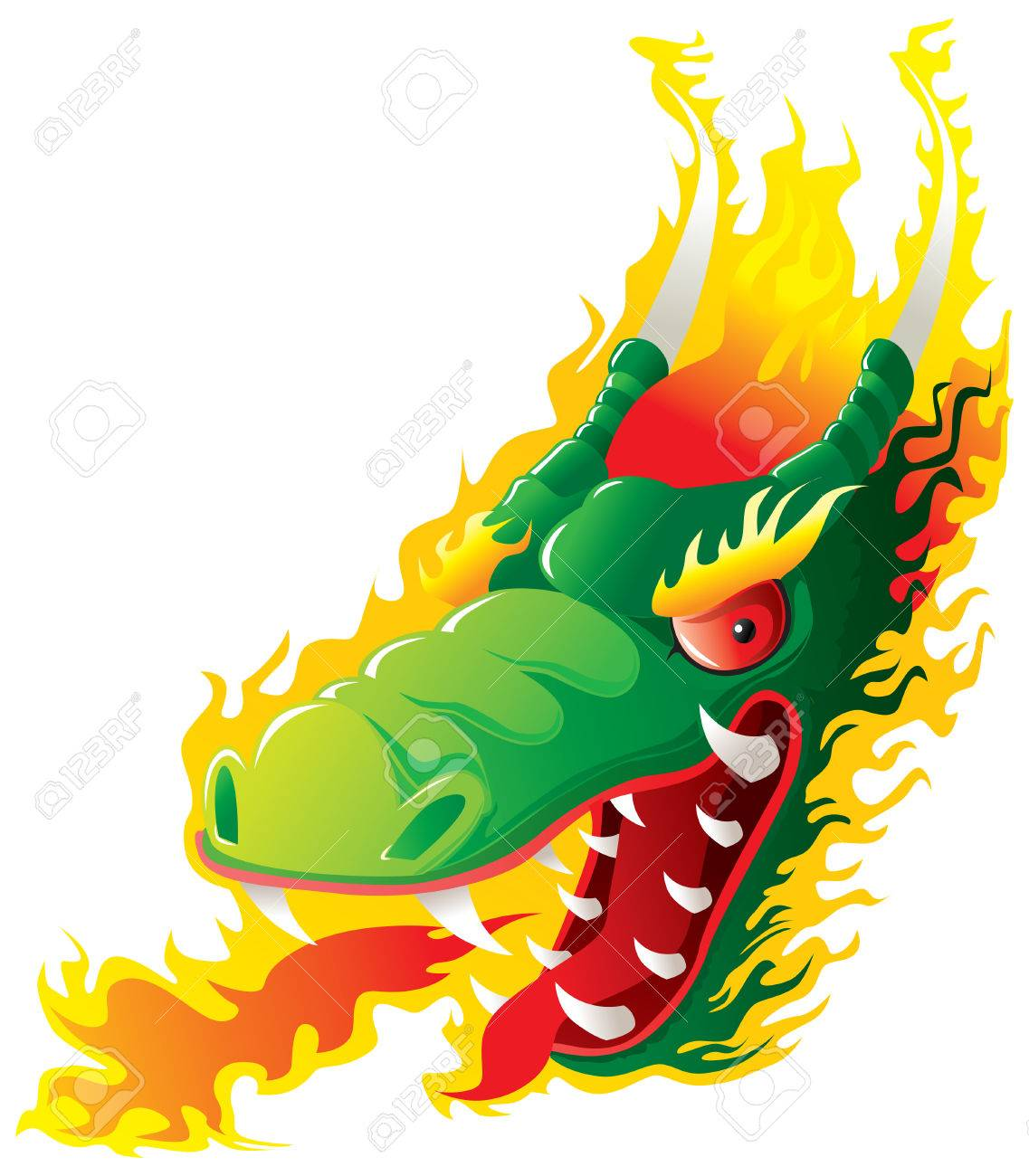Dragon head on fire. Original   artwork inspired with traditional Chinese and Japanese dragon arts. Stock Vector - 8222351
