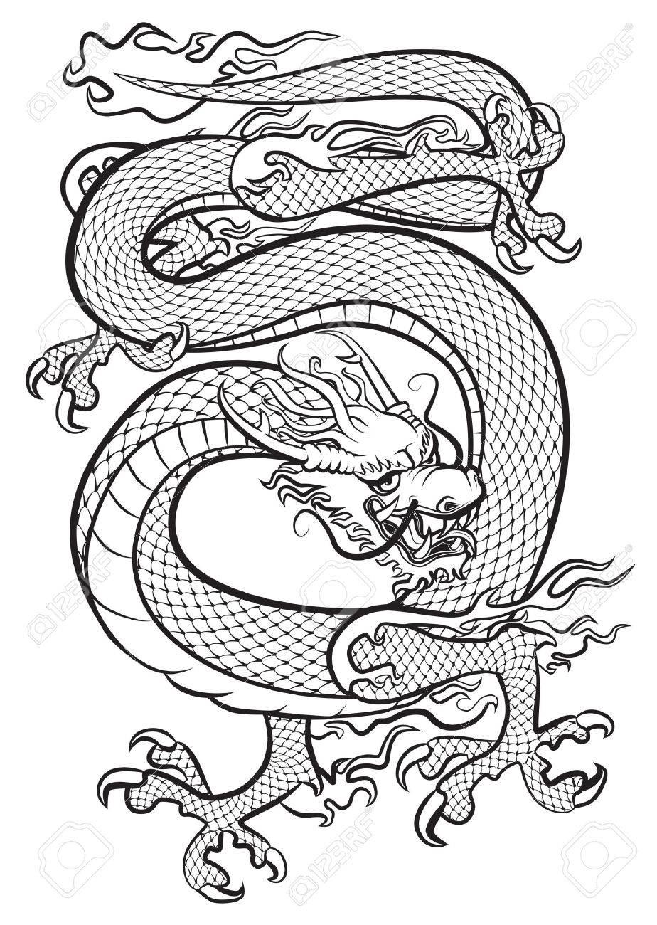 Dragon Blanco Y Negro Ilustración Original Inspirado Con Artes