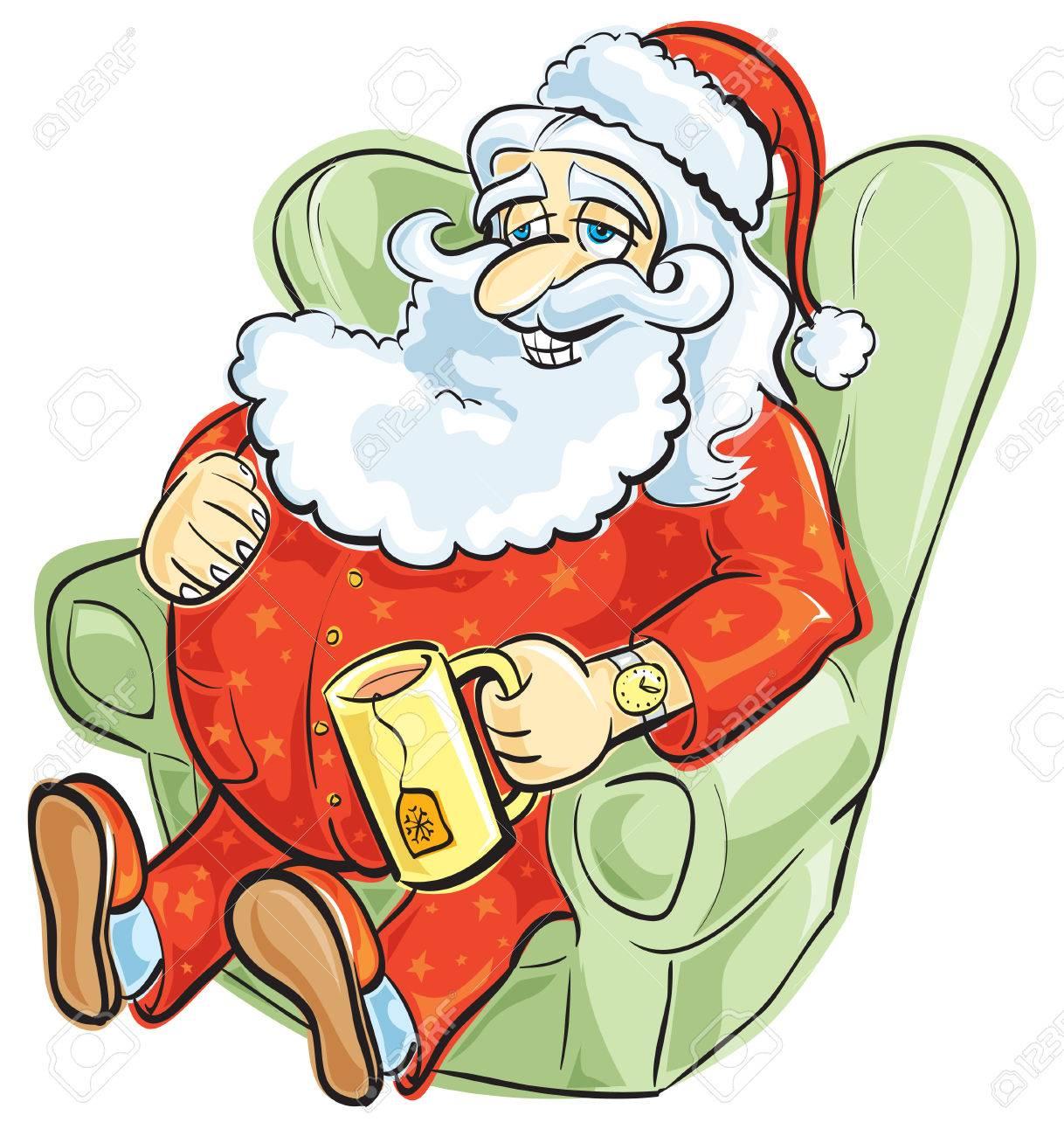 Santa resting in pajamas Stock Vector - 8222326