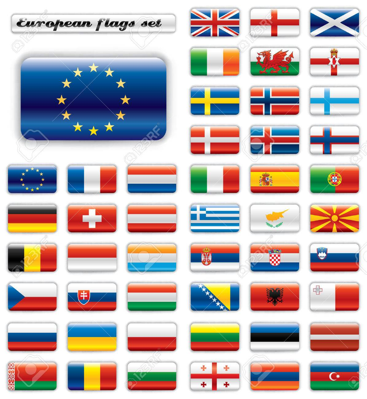 Extra Glossy Button Flags. Big European