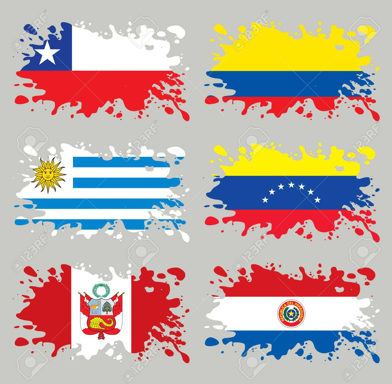 Splash flags set South America. Each in separated layer, easy to use, without gradients and transparencies. Stock Vector - 9054242