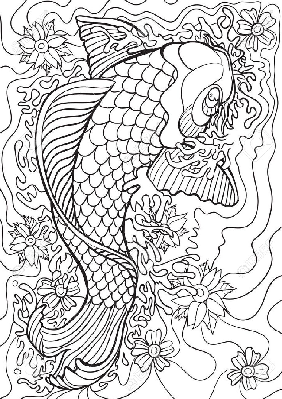 Adult Coloring Book Illustration Tattoo Set Koi Illustration