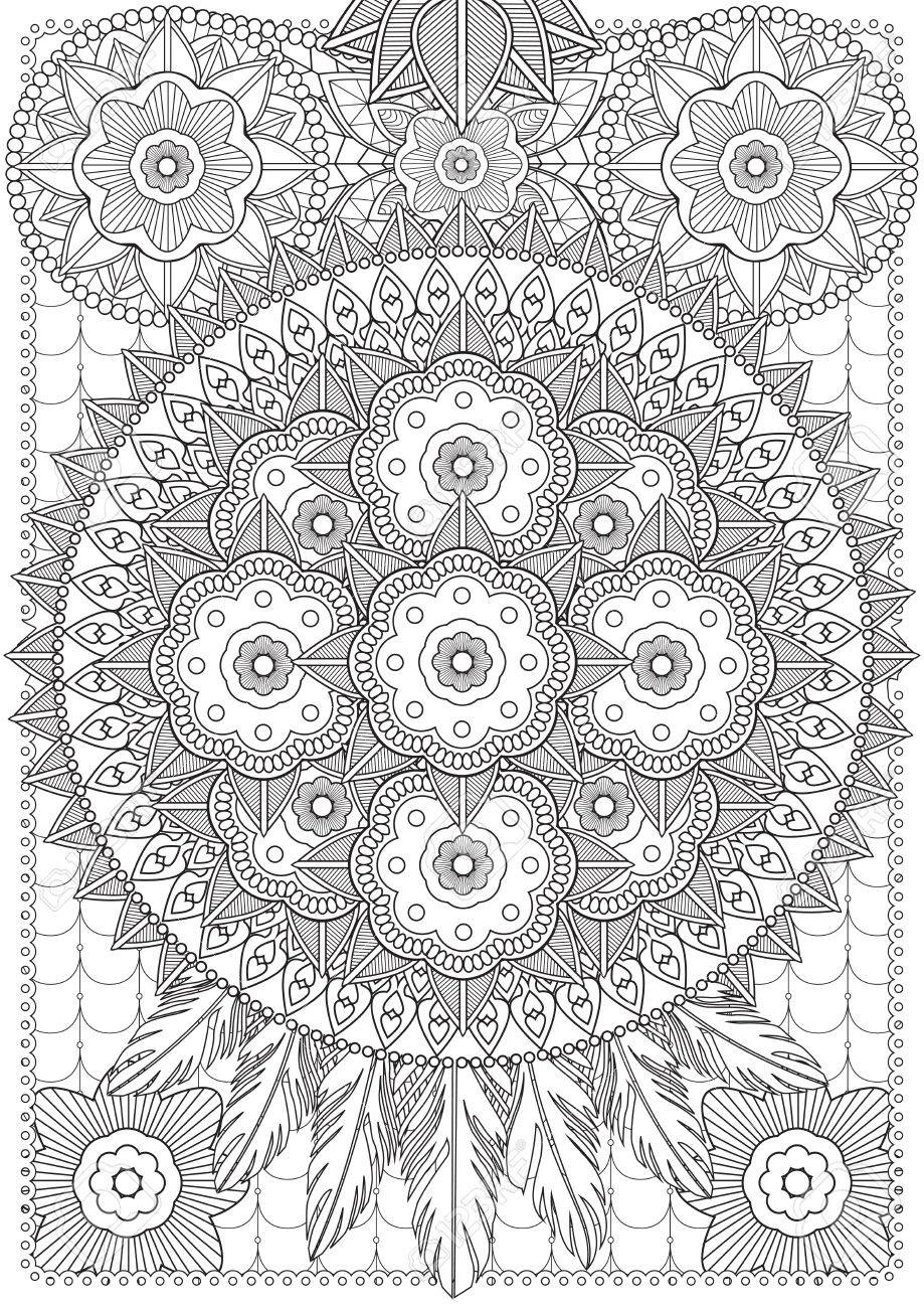 Adult Coloring Book Illustration Tattoo Set Lace Dreamcatcher Stock Vector