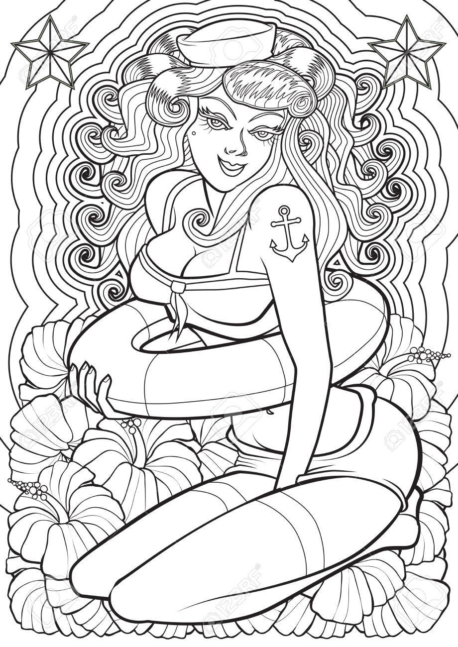 Adult Coloring Book Illustration Tattoo Set Pin Up Illustration