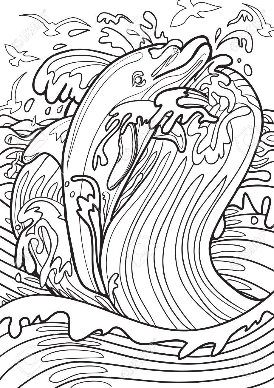 Adult Coloring Book Illustration. Tatto Set: Dolphin Royalty Free ...
