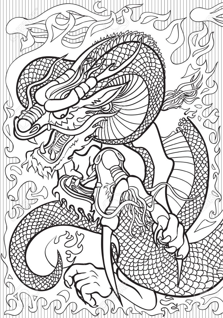 Adulto Ilustración De Libros Para Colorear. Tatto Conjunto: Dragones ...