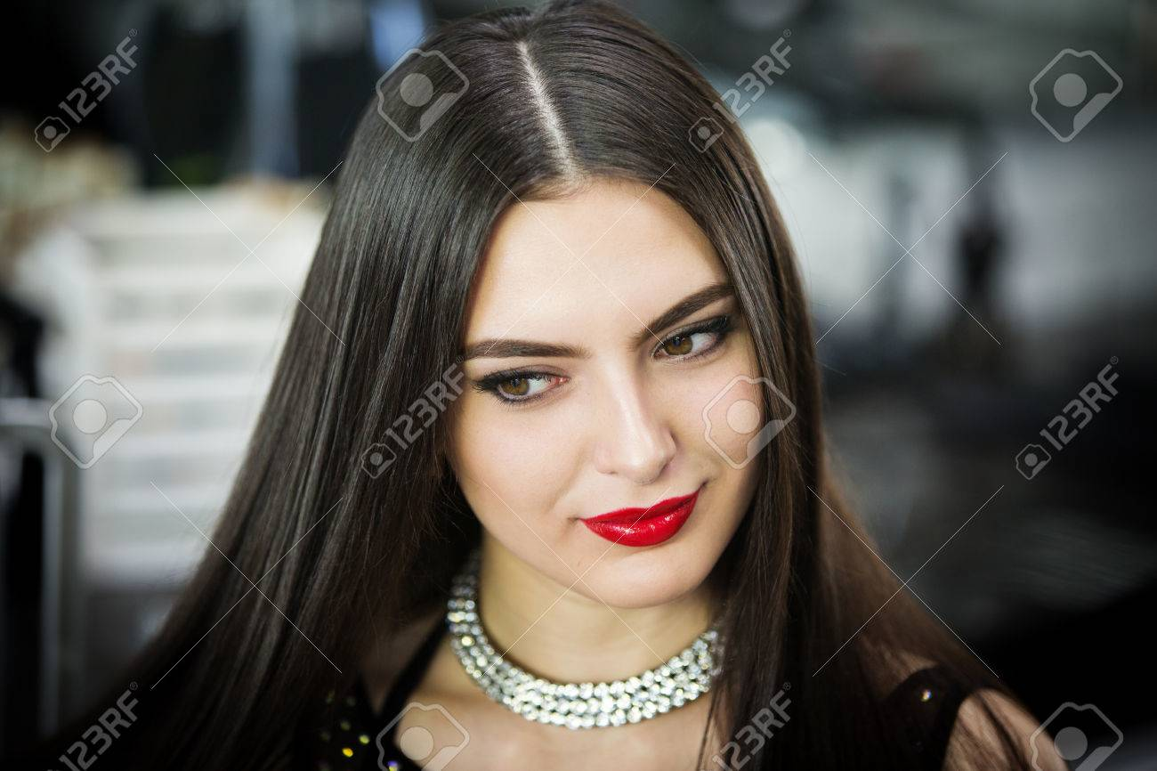Sexy Brunette With Red Lips Hd Stock Photo 61598536