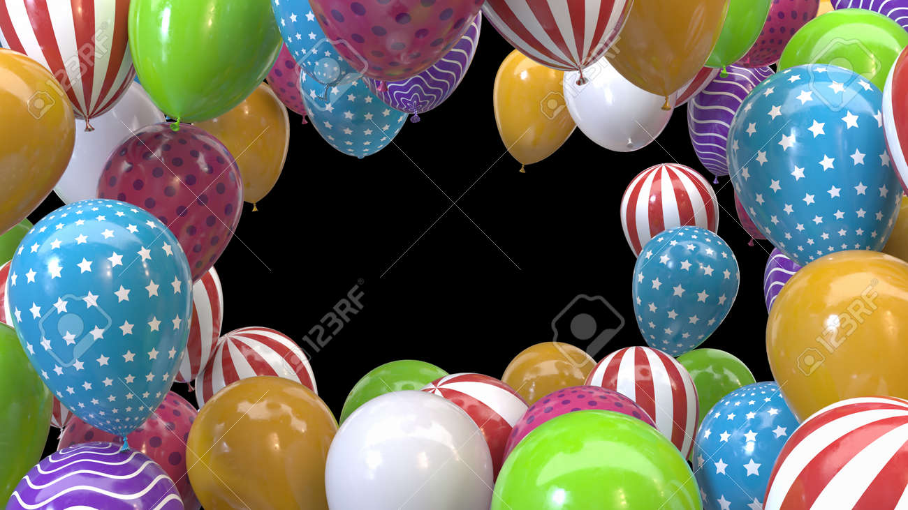 3d render frame of multicolored balloons on a black background - 163824179