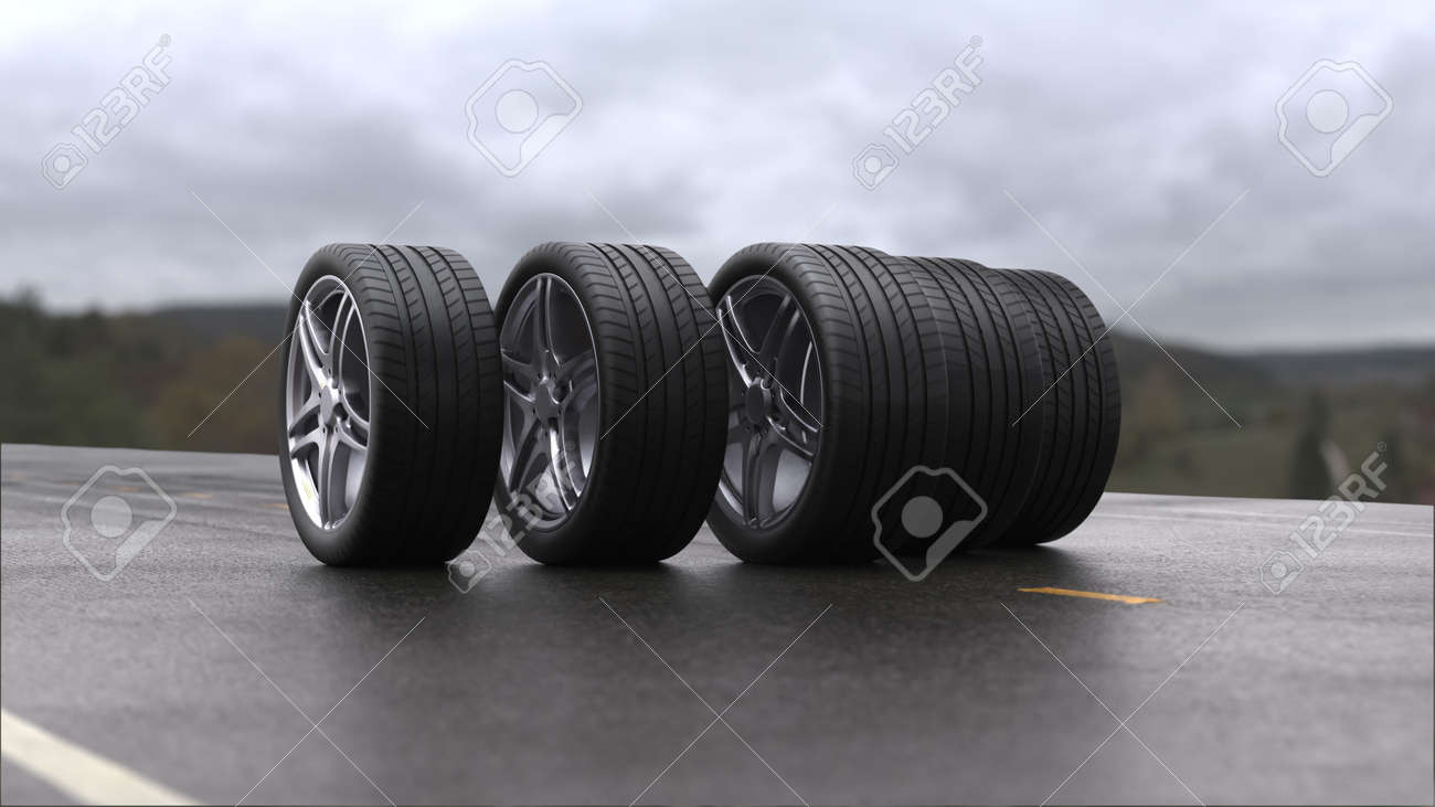 3d render four car wheels rolling on wet asphalt - 163520513