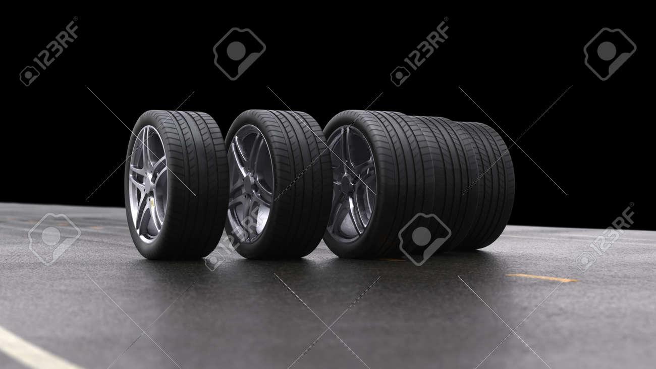 3d render four car wheels rolling on a black background - 163518082