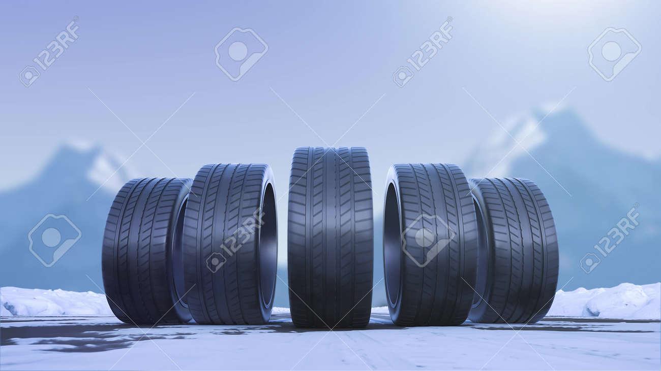 Loop four car wheels drive on a snowy road - 163636165