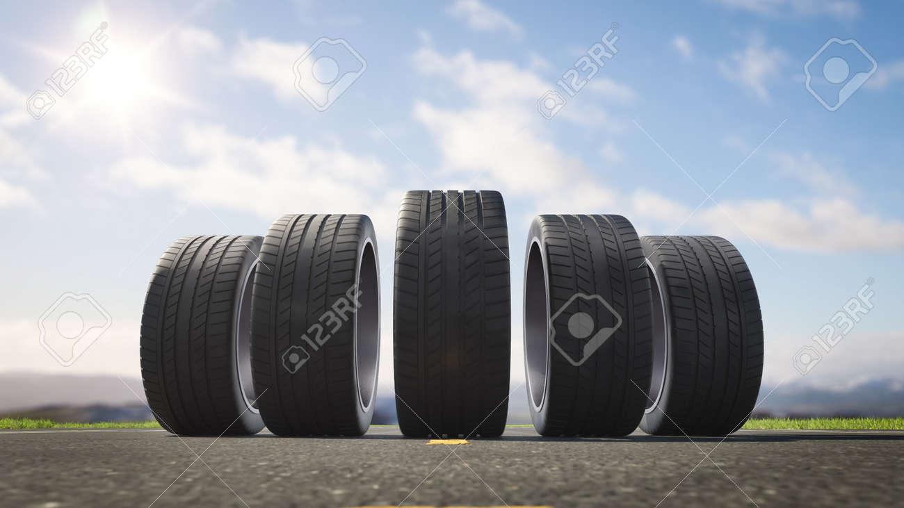 3d render car tires rolling on asphalt in the summer - 164634709
