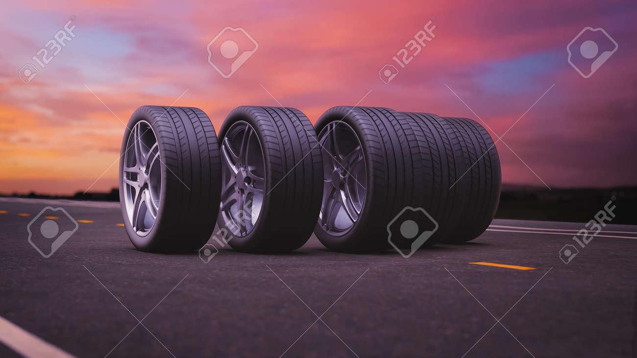 3d render car tires rolling on asphalt in the sunset - 164505306