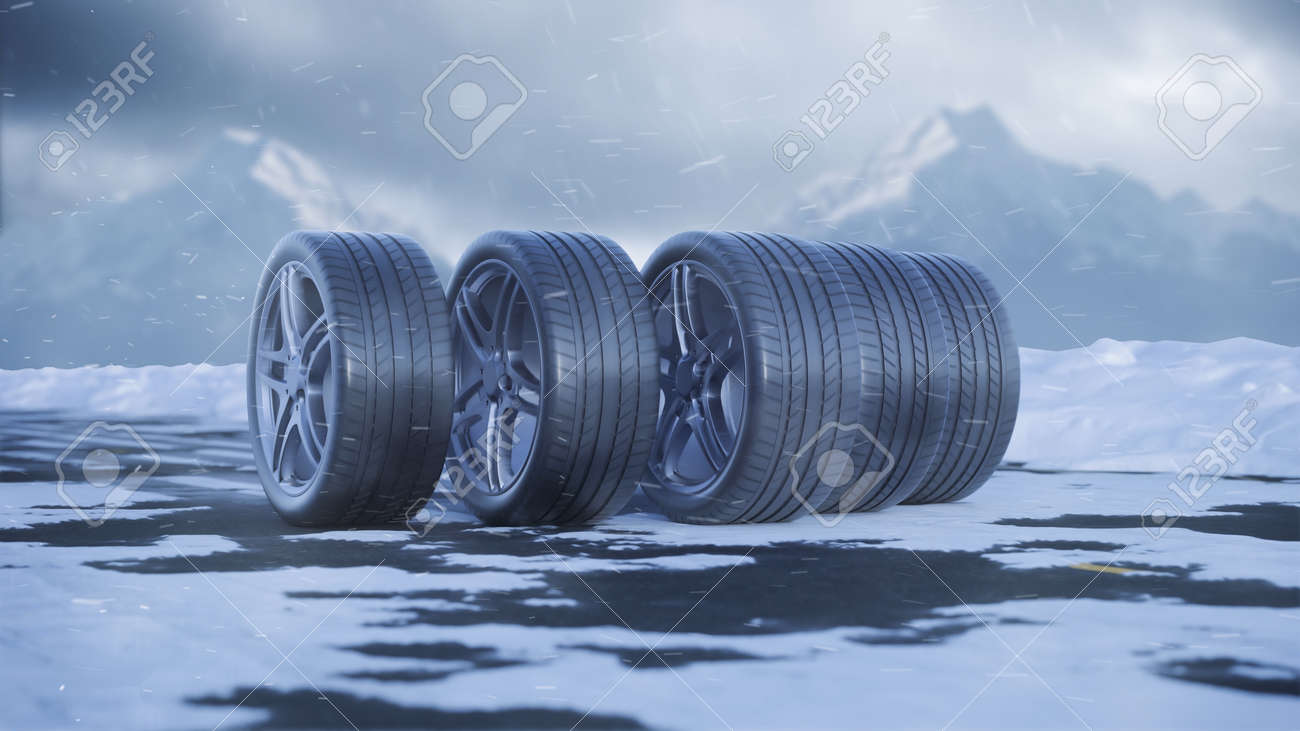 3d render car tires roll on a snowy road under the falling snow - 164505260