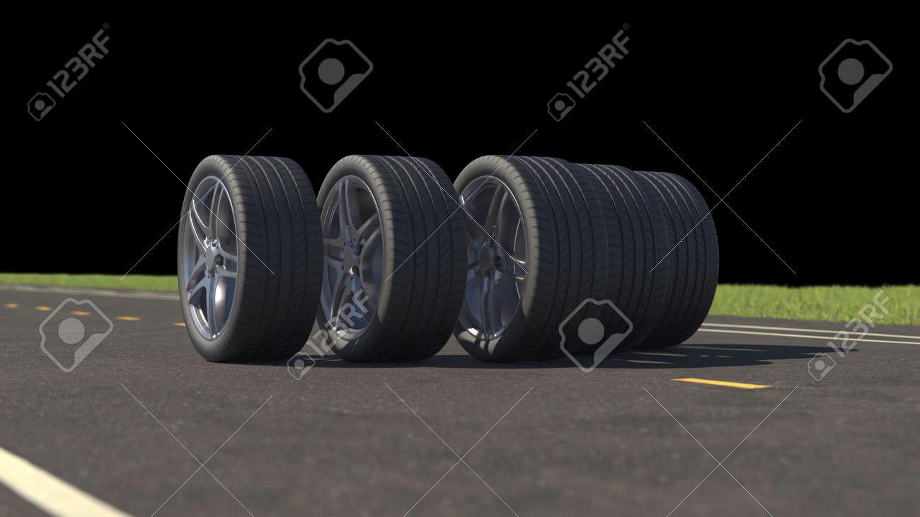 3d render car tires rolling on asphalt in the summer on a black background - 164505520