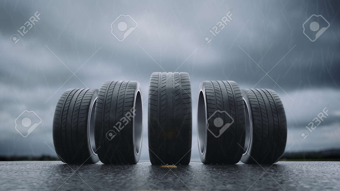3d render car tires rolling on wet asphalt in the rain with a thunderstorm - 164505272